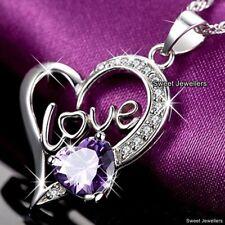 CADEAU POUR ELLE femmes MAMAN Fille Sis TANTE Violet cristal collier Cœur noël