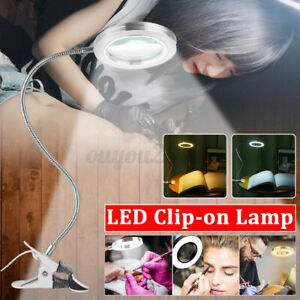 Magnifying LED Lamp USB Charging Table Light Clip-on Lamp Beauty Tattoo Reading