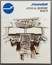FINNAIR ANNUAL REPORT 1974-75 DOUGLAS DC-9 SEAT MAPS ROUTE MAP FINLAND