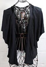 LILY WHITE Black Crochet Drapey Cardigan Light Breezy Top Shirt M NWT