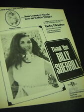 Vicky Fletcher says Thank You to Billy Sherrill 1975 Promo Poster Ad mint cond