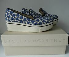 STELLA McCARTNEY flatform BINX loafers SHOES 36 blue white abstract