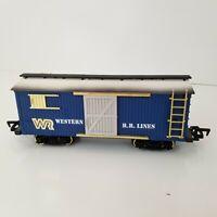 Vintage 1986 New Bright Western RR Lines G Scale Train Box Car Sliding Door Blue