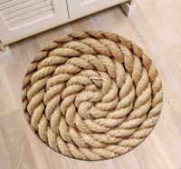 Round Floor Mat Hemp Rope Design Bedroom Carpet Living Room Area Rugs Home Decor