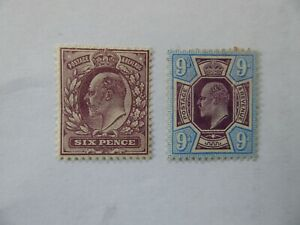 GB Edward VIIth 6d and 9d m/mint