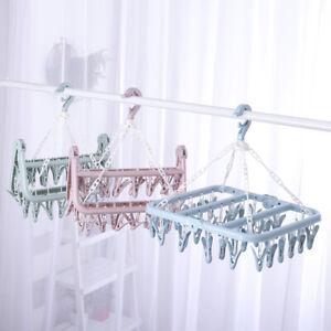 32 Peg Underwear Folding Hanger Plastic Sock Clothes Clip Airer Dryer Rack