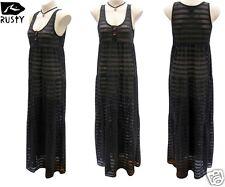 Rusty Ladies Black Maxi Dress Size 12 Long Net Gypsy Surf Beach Wear New RRP$90
