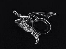 "1.5"" sterling silver 925 black onyx Vampire Bat pendant goth Emo Whitby New Gift"