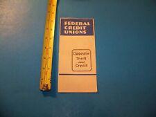 Federal Credit Unions Vintage Brochure