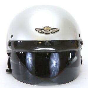 Harley-Davidson 100th Anniversary Silver/Black 2-Tone Half Helmet. Large.