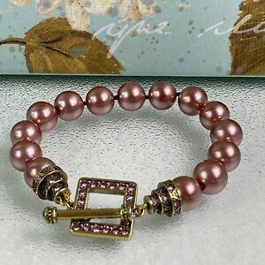 HEIDI DAUS retired Art Deco simulated pearl Crystal Toggle Bracelet Small/Medium