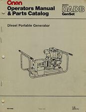 ONAN DADB DIESEL PORTABLE GENERATOR  OPERATOR'S  PARTS MANUAL 1980  923-0300