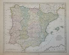 A MAP OF SPAIN AND PORTUGAL PUBLISHED BY R. WILKINSON 1794.