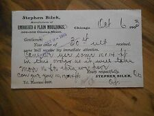 Antique 1903 Stephen Bilek Embossed & Plain Mouldings Chicago Illinois Postcard