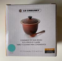 NIB LE CREUSET Condiment Pot with Spoon - Caribbean Turquiose