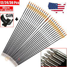 "36Pcs 32"" Archery Bow Arrows Hunting Target Practice Fiberglass Fletched Arrow"