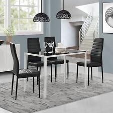 [en.casa] Esstisch + 4 Stühle schwarz/weiß Küchentisch Esszimmertisch Glas Tisch