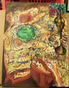 """PAISLEY AND PEPPERS"" by Ruth Freeman ACRYLIC ON STRETCHED CANVAS 18"" X 24"""