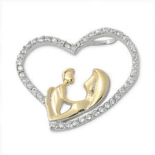 MOTHERS DAY GIFT!  TWO TONE Russian CZ Heart .925 Sterling Silver SOLID Pendant