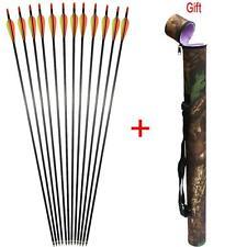 12 x 31'' Target Practice Archery Carbon Shaft Arrows Sp400 & Arrows Quiver Gift