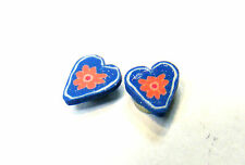 CLIP ON MAGNETIC BLUE PINK HEART NOSE STUD EARRINGS 7MM FREE UK POST! MH2