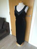 Ladies VINTAGE HOUSE OF FRASER Dress Size 14 16 Black Velvet Cocktail Party maxi