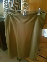 LuLaRoe Cassie Skirt L Large Skirt Solid Olive Green Textured Stretchy