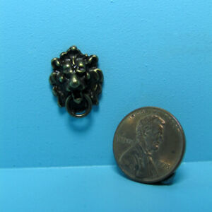 Dollhouse Miniature Metal Antiqued Bronze Lion Head Door Knocker S3077A
