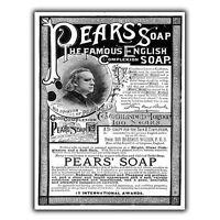 PEARS SOAP METAL SIGN WALL PLAQUE Vintage Bathroom Kitchen Advert art print 1850