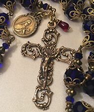 FRENCH ROSARY~ ST. THERESE ~ BRILLIANT COBALT BLUR AUSTRIAN CRYSTAL ~ BRONZE