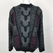 Vintage CHIA Chunky Cable Knit Sweater Leather Patches Purple Black Size Small