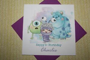 Handmade Personalised Cute Monsters Inc Birthday Card Son Daughter Friend