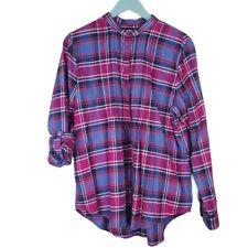 Size 16 - LANDS END Womens Plaid Pintuck Roll Tab Flannel Shirt