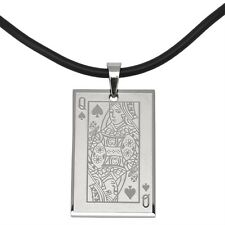 Queen Of Hearts Stainless Steel Pendant Cord Necklace Jewelry