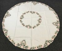 """Embroidered Floral Cutwork Embroidery Tablecloth 72x72"""" Round Elegant Linen"""