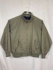 Lands End Mens XL Army Green Bomber Jacket Wool Detachable Lining Light Heavy