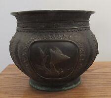 Antique signed Japanese ornate bronze planter decorated scenes birds 2.85kg
