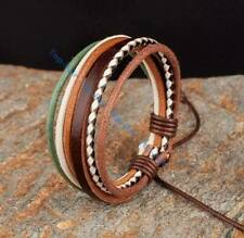 Multi Layer Fashion Multi Color Leather Hemp Braided Leather Bracelet Wristband