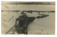 RPPC Santa Fe Railroad WRECK Flood! POMONA KS Franklin Co Real Photo Postcard