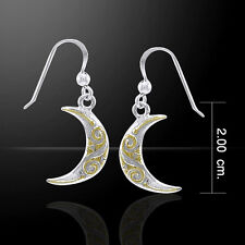 Celtic Spiral Crescent Moon Silver and Gold Earrings by Peter Stone
