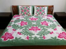 Hawaiian quilt FULL/TWIN BEDSPREAD 100% hand quilted/appliquéd HIBISCUS 2 shams