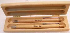 Schreibset im Holz Etui Holzkugelschreiber Holzdruckbleistift mit Laser Gravur