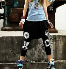 New Womens Hip Hop Pants Harem Dance Slacks Sport Sweat Alphabet Trousers Black