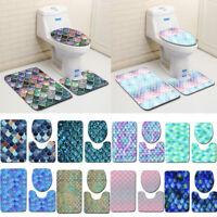 1Set Bathroom Non-Slip Fish Scale Pedestal Rug+Lid Toilet Cover+Bath Mat UK