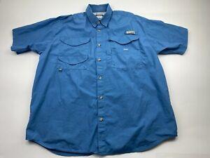 Columbia Men's Large Shirt GRT Short Sleeve Button Up Blue Sun Protection