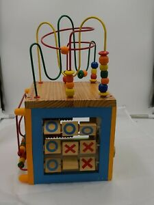 5 In 1 Wooden Activity Cube Wooden Beads Tic Tac Toe Abacus Wooden gears Used