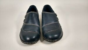 CLARKS Womens Shoes Size 8.5M Leather Beautiful Slip On Comfort Shoes Navy Blue