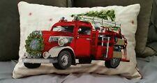 "15""x24"" Red Truck Christmas Tree Fire Engine Pillow Embroidered Beaded Velvet"