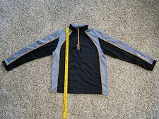 Mens Sligo Golf 1/4 Zip LS Hoffland Fleece Pullover Black Gray Orange size LG