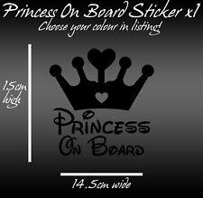 Princess On Board Car Sticker decal vinyl any colour 15cm x 14.5cm baby on board